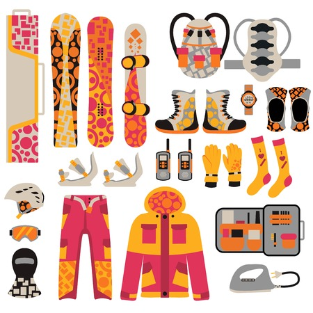 winter sports: Snowboard sport clothes and tools elements. Snowboarding elements isolated on white background. Snowboard cloth, snowboard jacket, snowboard board. Snowboard winter sport equipment