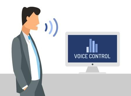 Voice control illustration. Smart computer voice control with human voice. Smart phone, smart house, modern computer technology.Voice control command background.Voice control businessman office