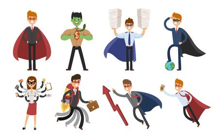 hero: hero business man and business woman set. people in business illustration. hero in business situations, hero in office life. hero flying, business success people