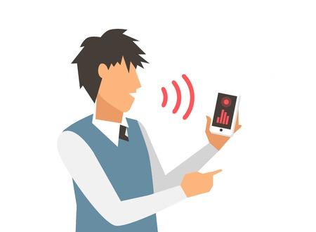 Spraakbesturing illustratie. Smart computer voice control met menselijke stem. Slimme telefoon, slimme huis, moderne computer technology.Voice stuurcommando background.Voice controle zakenmanbureau