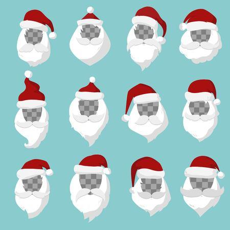 weihnachtsmann lustig: Portrait der Weihnachtsmann Gesicht Cut Silhouette. Weihnachts Gesicht, Schnurrbart und im Sankt-roten Hut transparency.Santa Hut. Neues Jahr 2016 Weihnachts face.Santa Kopf. Sankt-Weihnachtsgru�karte. Weihnachts Gesicht isoliert