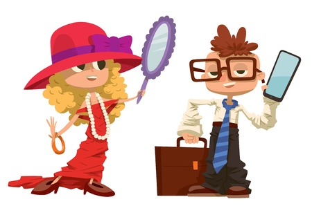 kid illustration: Cartoon boy and girl dressed like mother and father. cartoon boy, girl similar adult man and woman. People professions job search . Business kids illustration. Boy, girl future job choice