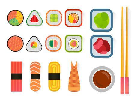 sushi roll: sushi and rolls set isolated on white background. Sushi set icons, sushi japanese food. Seafood icons, sushi meal menu, traditional sushi isolated. Sushi , sushi illustration