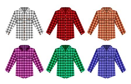 camiseta: Camisa a cuadros de leñador leñador viejos patrones de moda. Rojo, negro, de verificación blanca camisa de leñador moda antigua. Inconformista de moda camisa de leñador. Leñador Moda textura de tela. Patrón Leñador Vectores