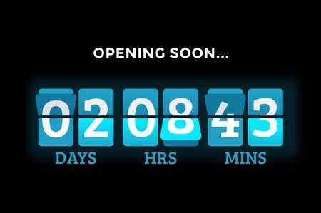 Countdown klok cijfers boord panelen timer. Website timer teller. Verkoop binnenkort geopend. Nieuw jaar, Kerstmis timer verkoop. mechanische timer. Zwarte vrijdag timer. website timer Vector Illustratie