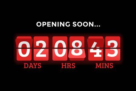 Countdown klok cijfers boord panelen timer. Website timer teller. Verkoop binnenkort geopend. Nieuw jaar, Kerstmis timer verkoop. mechanische timer. Zwarte vrijdag timer. website timer banner Stock Illustratie