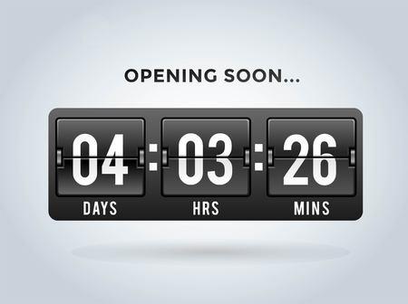 Countdown klok cijfers boord panelen timer. Website timer teller. Verkoop binnenkort geopend. Nieuw jaar, Kerstmis timer verkoop. mechanische timer. Zwarte vrijdag timer. website timer
