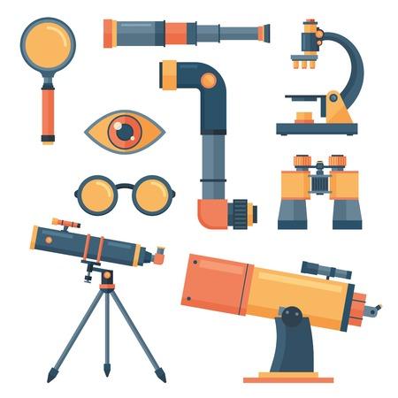 光のアイコンを設定します。光のツールのコレクションを分離しました。光学機器、望遠鏡、顕微鏡、ガラス。光学レンズは、アイコンをツールし  イラスト・ベクター素材