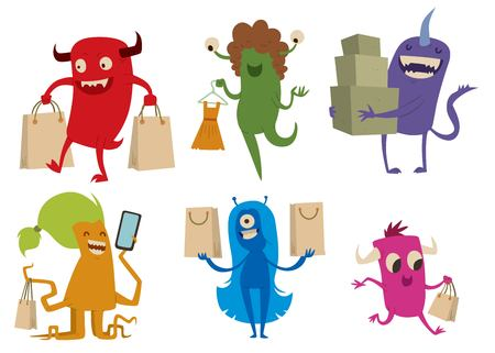 devil man: Cartoon cute monsters shopping . Shopper monsters cartoon characters illustration. Shopping bag, cute monster set isolated. Monster shopping bag set. Cartoon cute monster