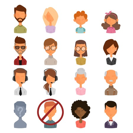 Ensemble de portrait des icônes de figures de style web avatars plat. Vector femmes, des hommes, des avatars d'enfants sont confrontés. Avatar bloqué, avatar inconnu, anonyme avatar silhouette. L'homme d'affaires, femme avatars icônes. icônes Avatar
