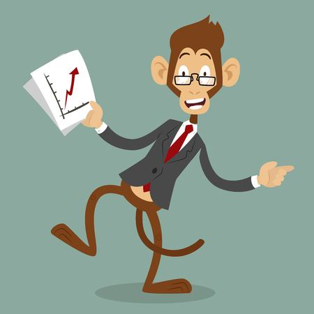 situation: Cartoon monkey business man stress dancing. Business monkey isolated. Cartoon monkey dancing business life  illustration. Business office life concept. Monkey vector, monkey people business situation