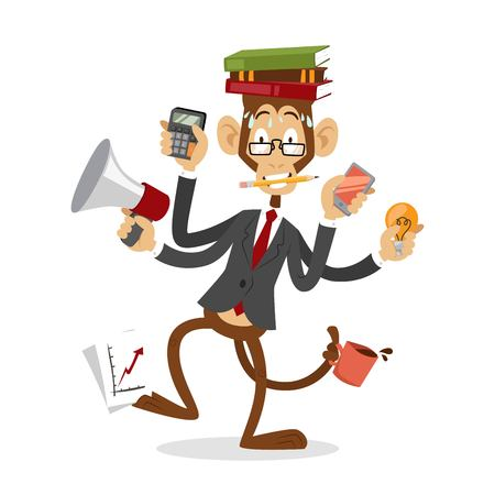 cute cartoon monkey: Cartoon monkey business man stress dancing. Business monkey isolated. Cartoon monkey dancing business life  illustration. Business office life concept. Monkey vector, monkey like people business situation Illustration