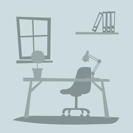 papeles oficina: interior de la oficina de negocios con mesa, silla, ordenador. oficina de negocios ilustración vectorial. Oficina de ilustración vectorial de interiores. oficina de negocios tabla de interiores. oficina de negocios equipo de interiores. aislado interior de la oficina de negocios