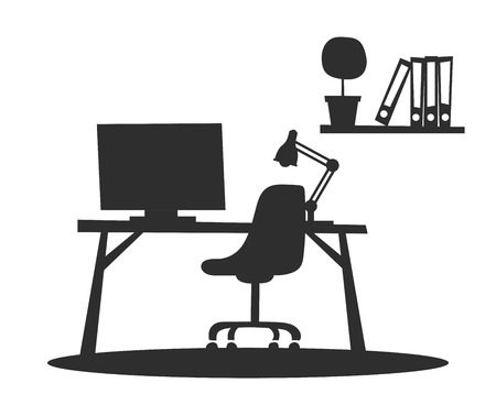 work table: Business office interior silhouette with table, chair, computer. Business office vector black and white illustration. Office interior vector illustration. Business office interior table. Business office interior computer. Business office interior isolated Illustration