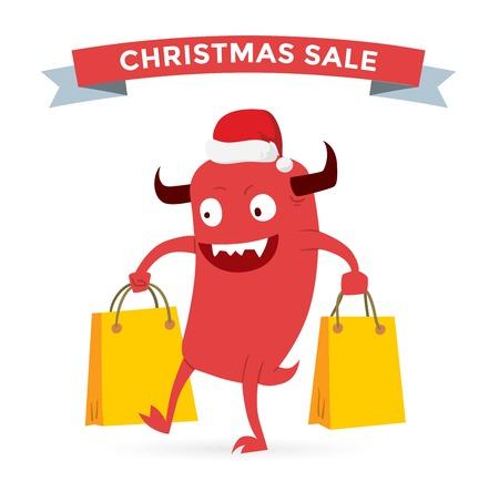 monster: Cartoon cute monsters Christmas sale shopping vector. Shopper Christmas sale monsters cartoon. New Year sale bag icon, cute monster set. Monster shopping Christmas sale bag. Cartoon cute monster sale