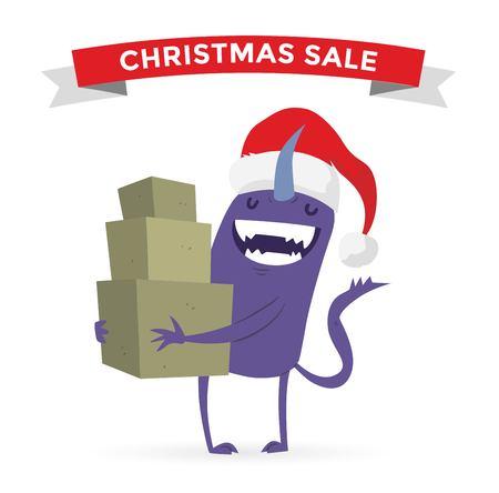 shoping bag: Cartoon cute monsters Christmas sale shopping vector. Shopper Christmas sale monsters cartoon. New Year sale bag icon, cute monster set. Monster shopping Christmas sale bag. Cartoon cute monster sale