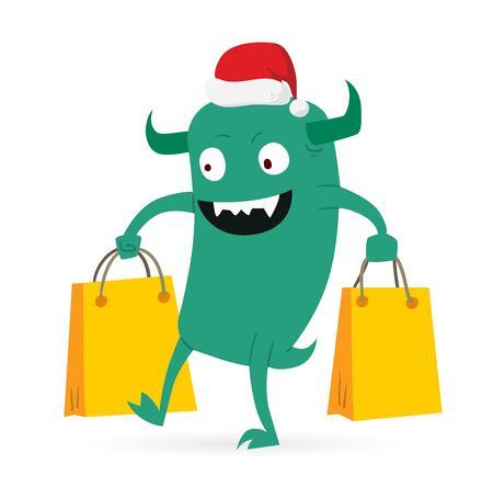 cute monster: Cartoon cute monsters Christmas sale shopping vector. Shopper Christmas sale monsters cartoon. New Year sale bag icon, cute monster set. Monster shopping Christmas sale bag. Cartoon cute monster sale