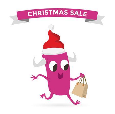 bag cartoon: Cartoon cute monsters Christmas sale shopping vector. Shopper Christmas sale monsters cartoon. New Year sale bag icon, cute monster set. Monster shopping Christmas sale bag. Cartoon cute monster sale
