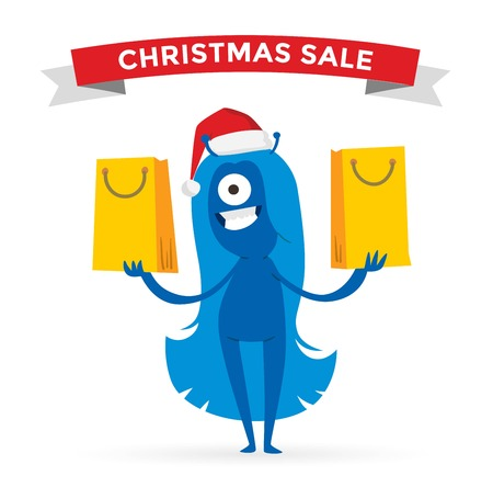 funny monster: Cartoon cute monsters Christmas sale shopping vector. Shopper Christmas sale monsters cartoon. New Year sale bag icon, cute monster set. Monster shopping Christmas sale bag. Cartoon cute monster sale