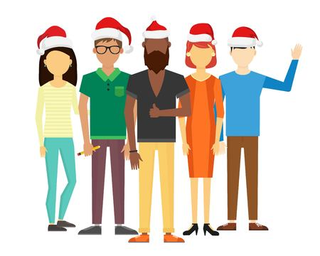 command: Business team people Christmas greeting card. Partners greeting card command people isolated. Design studio people Christmas holidays. Team santa red hat group portrait