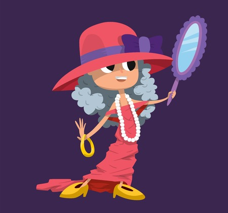 nude girl young: Cute fashion small girl clothing like mother. Girl with big hat, big dress and big shoes. Fashion girl makeup. Fashion young girl mirror in hand. Kid girl child childhood game. Fasion small girl mother dress