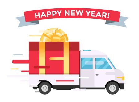 commercial van: Delivery vector transport truck van Christmas gift box bow ribbon. Delivery service van New Year greeting card. Delivery truck, gift box. Wedding box, birthday box. New Year hipping transport