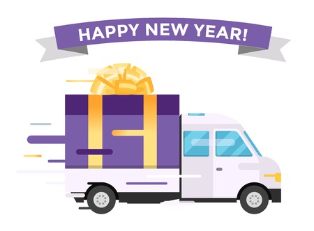 christmas gift box: Delivery vector transport truck van Christmas gift box bow ribbon. Delivery service van New Year greeting card. Delivery truck, gift box. Wedding box, birthday box. New Year hipping transport