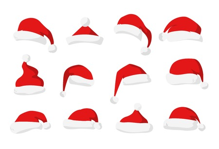 cabeza: Santa Claus silueta sombrero rojo. Sombrero de Santa, Santa sombrero rojo aislado en blanco. Sombrero de Santa. A�o Nuevo 2016 de santa sombrero rojo. Pap� vector sombrero de la cabeza. Navidad Santa decoraci�n de sombrero. Sombrero de Santa vector de la cara