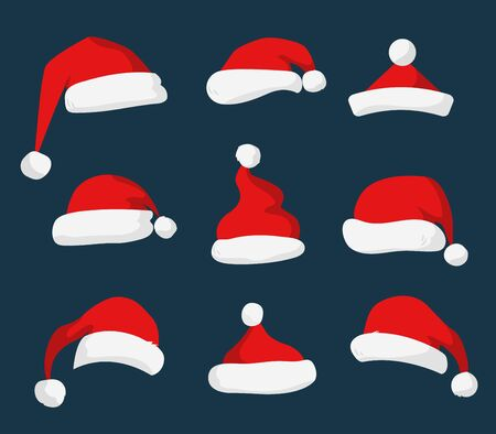 christmas parties: Santa Claus red hat silhouette. Santa hat, Santa red hat isolated on background. Santa hat. New Year 2016 santa red hat . Santa head hat vector. Santa Christmas hat decoration. Santa face hat vector