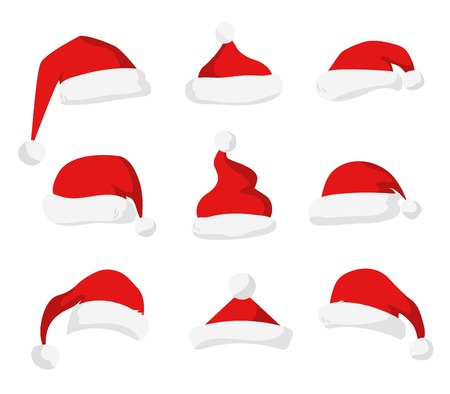 wearing santa hat: Santa Claus red hat silhouette. Santa hat, Santa red hat isolated on white. Santa hat. New Year 2016 santa red hat . Santa head hat vector. Santa Christmas hat decoration. Santa face hat vector icons