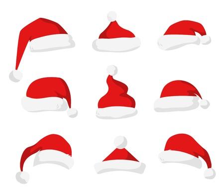 weihnachtsmann lustig: Weihnachtsmann roten Hut Silhouette. Sankt-Hut, Santa roten Hut auf weiß isoliert. Santa hat. Neujahr 2016 Santa roten Hut. Sankt Kopf Hut Vektor. Sankt-Weihnachts Hut Dekoration. Sankt Gesicht Hut Vektor-Icons