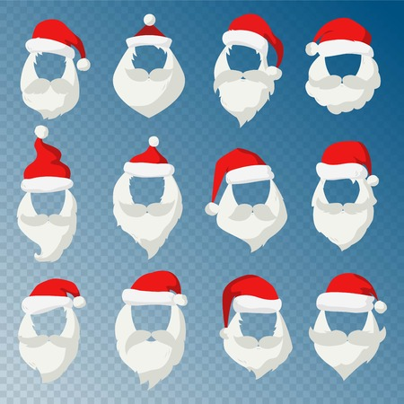 funny cartoon: Portrait Santa Claus face cut mask silhouette. Santa face, mustache and santa red hat transparency.Santa hat.New Year 2016 santa face.Santa head vector. Santa icon. Christmas greeting card. Santa face
