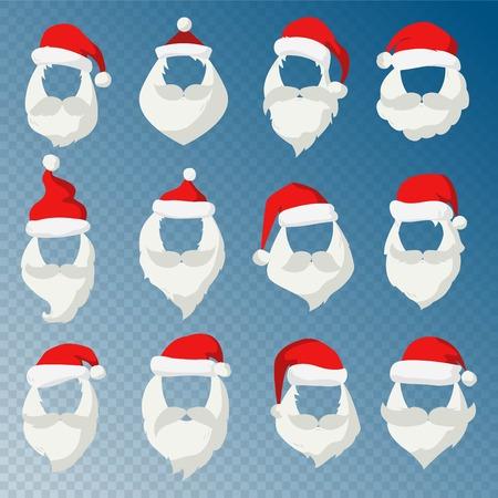 caras graciosas: Retrato de Santa Claus silueta de la cara de la m�scara cortado. la cara de Pap�, bigote y el sombrero de santa rojo transparency.Santa hat.New A�o 2016 de santa face.Santa vector de cabeza. Pap� icono. tarjeta de felicitaci�n de Navidad. la cara de Pap�