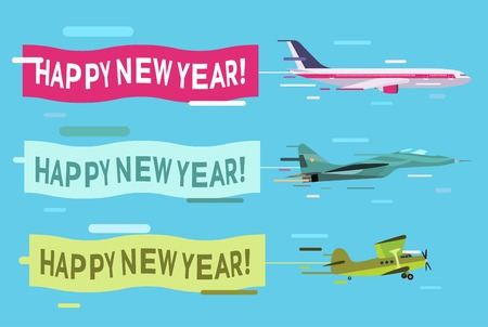 airplane: Plane flying with Merry Christmas banners. Christmas, New Year planes banners. Plane flying Christmas greeting Card.