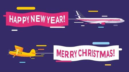 piloto de avion: Avi�n volando con pancartas Feliz Navidad. Navidad, A�o Nuevo banners aviones. Avi�n volando la tarjeta de felicitaci�n de Navidad.
