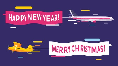 paper plane: Plane flying with Merry Christmas banners. Christmas, New Year planes banners. Plane flying Christmas greeting Card.