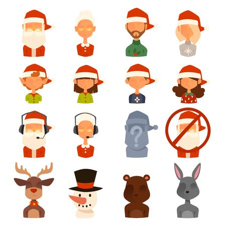 female animal: Santa Claus, Missis Claus, kids family avatars. Santa Clau, Missis Claus cartoot peopl face avatars. Christmas people traditional costume. New Year avatars isolated. Christmas avatars icons. Santa Claus helpers family