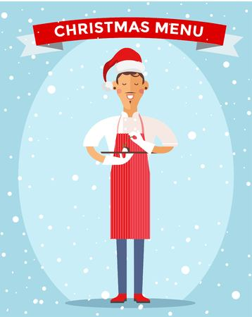 cook: Special Christmas menu cook chef illustration. Cook chef holding Christmas menu food special dish. Cook chef male cartoon character in Christmas Santa hat. People job, Christmas menu