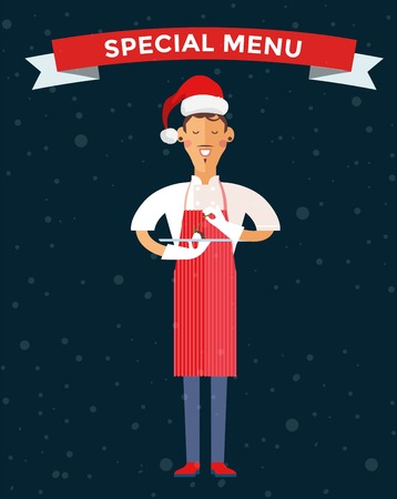 cook hats: Special Christmas menu cook chef illustration. Cook chef holding Christmas menu food special dish. Cook chef male cartoon character in Christmas Santa hat. People job, Christmas menu