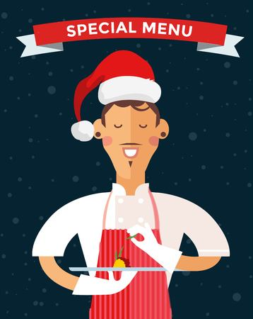 the cook: Special Christmas menu cook chef illustration. Cook chef holding Christmas menu food special dish. Cook chef male cartoon character in Christmas Santa hat. People job, Christmas menu
