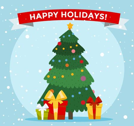 natale: Albero di Natale illustrazione dei cartoni animati. Albero di Natale sfondo. Albero di Natale biglietto di auguri tradizionale. Albero di Natale isolato su sfondo. cartolina di Natale Capodanno