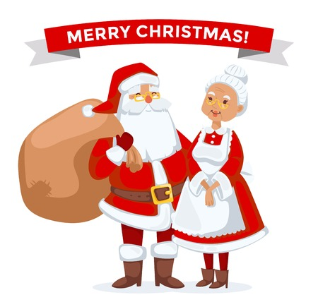 helpers: Santa Claus, Missis Claus family illustration. Santa Clau, Missis Claus cartoon people. Missis Claus traditional costume. Santa Claus isolated on background. Santa Claus family portrait. Christmas Santa Claus helpers