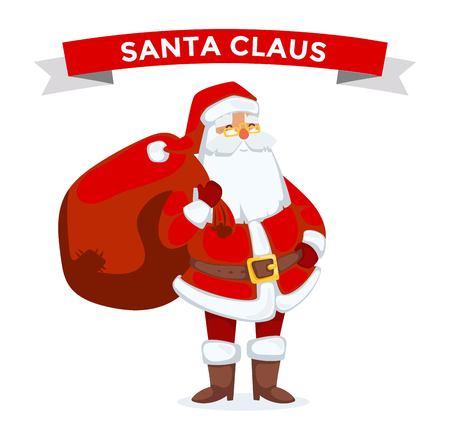 papa noel: Ilustraci�n de Santa Claus. Santa Claus de dibujos animados anciano con sombrero rojo y saco. Santa Claus traje tradicional. Santa Claus aislado en el fondo. Santa Claus alojarse, cara de la sonrisa. Navidad de Santa Claus Vectores
