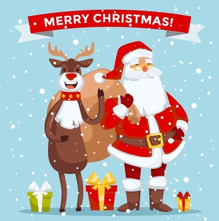 santa claus: Santa Claus illustration. Santa Claus cartoon old man with red hat and sack. Santa Claus traditional costume. Santa Claus isolated on background. Santa Claus stay, smile face. Christmas Santa Claus deer