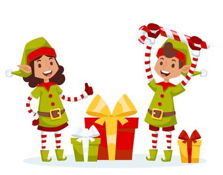 duendes de navidad: Pap� Noel ni�os de dibujos animados ayudantes elfos ilustraci�n. Pap� Noel ayudantes elfos ni�os. Ayudantes de Santa traje tradicional. Elfos de la familia de Santa aislado en el fondo. Elfo de Santa Claus, navidad ni�os. tarjeta de Navidad Vectores