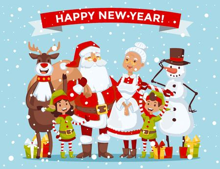 helpers: Santa Claus, Missis Claus, kids family illustration. Santa Clau, Missis Claus cartoon people. Missis Claus traditional costume. Santa Claus isolated on background. Santa Claus family portrait. Christmas Santa Claus helpers