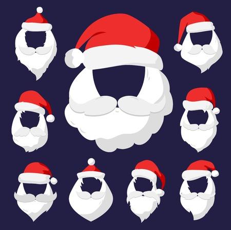 weihnachtsmann lustig: Portr�t Weihnachtsmann Gesicht geschnitten Maske Silhouette. Sankt Gesicht, Schnurrbart und im Sankt-roten Hut transparency.Santa Hut. Neujahr 2016 Weihnachts face.Santa Kopf. Sankt-Weihnachtsgru�karte. Sankt Gesicht Illustration