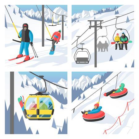 chairlift: Snowboarder sitting in ski gondola and lift elevators. Winter sport resort background. Snowboard people rest. Snowboarder lifting. Special snowboard elevators.  Illustration