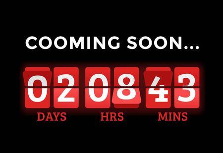 Countdown klok cijfers board panelen timer. Website timer teller. Verkoop binnenkort geopend. Nieuw jaar, Kerstmis timer verkoop. Stock Illustratie