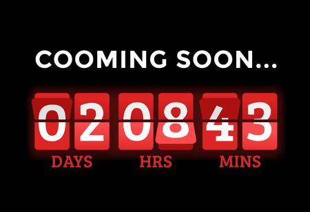 Countdown clock digits board panels timer. Website timer counter. Sale opening soon. New year, Christmas timer sale.